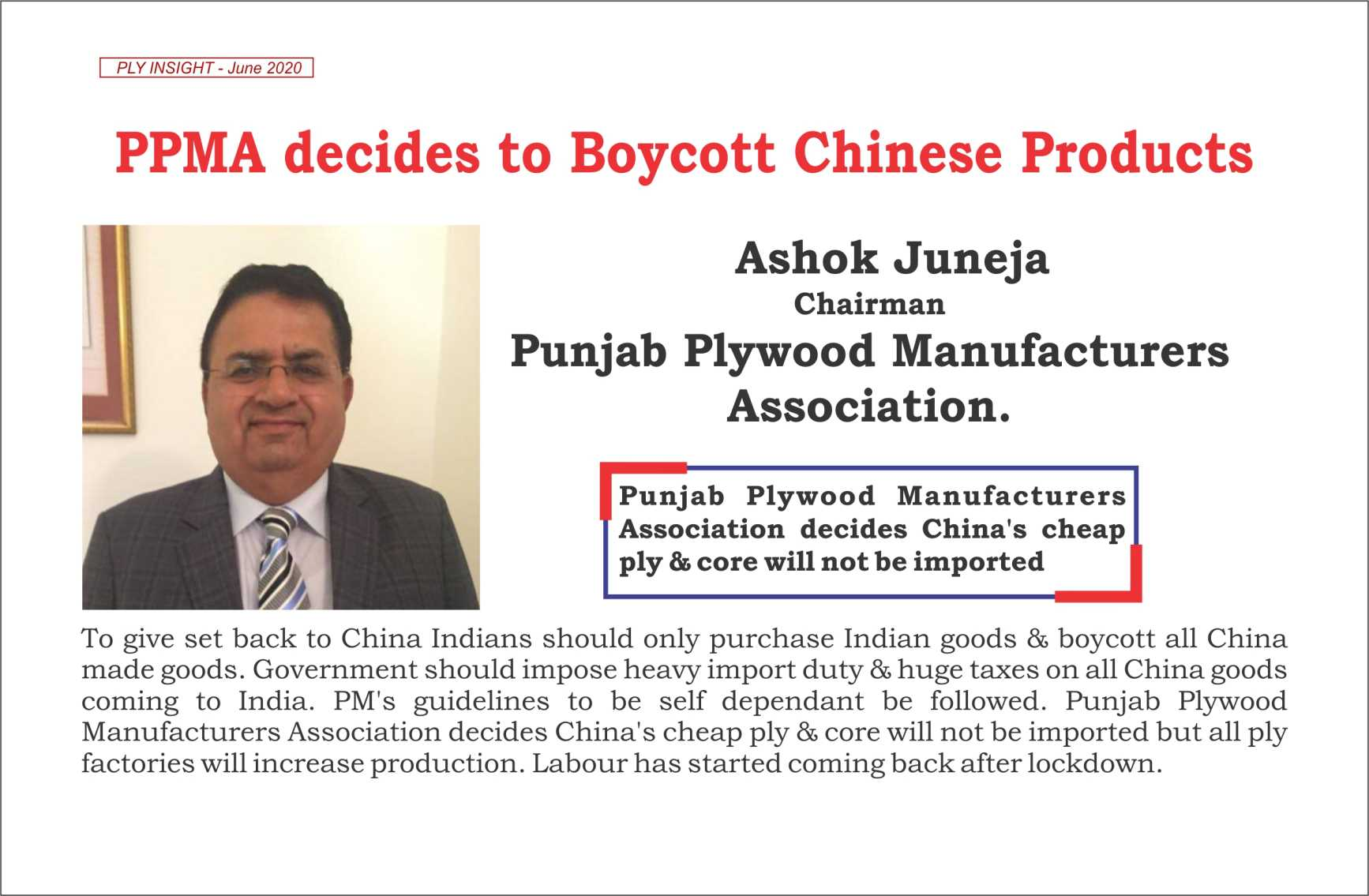 ppma decided to boycott chinese products
