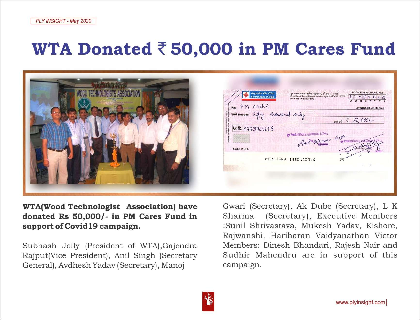 WTA Donted in PM Care fund